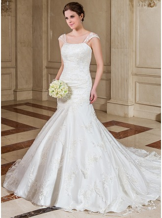 Trumpet/Mermaid Sweetheart Chapel Train Satin Wedding Dress With Beading Sequins