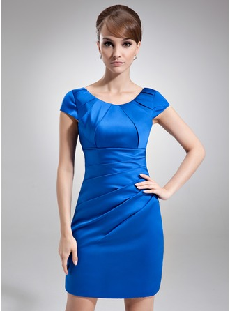 Sheath/Column Scoop Neck Short/Mini Satin Mother of the Bride Dress With Ruffle