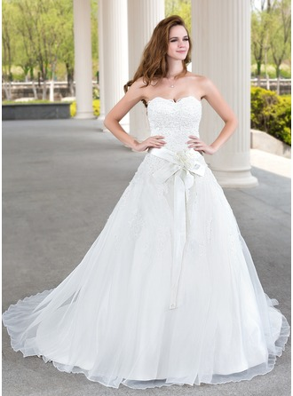 Ball-Gown Sweetheart Court Train Organza Satin Wedding Dress With Lace Beading Flower(s)