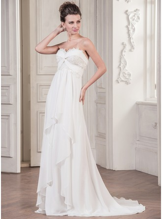 A-Line/Princess Sweetheart Sweep Train Chiffon Wedding Dress With Appliques Lace Cascading Ruffles