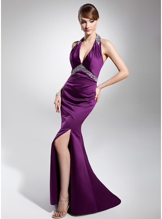 Trumpet/Mermaid Halter Sweep Train Satin Evening Dress With Ruffle Beading Sequins Split Front