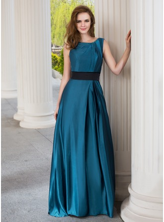 A-Line/Princess Scoop Neck Sweep Train Charmeuse Bridesmaid Dress With Ruffle Sash
