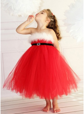 Ball-Gown Cotton Blends Girl Dress With Sequins