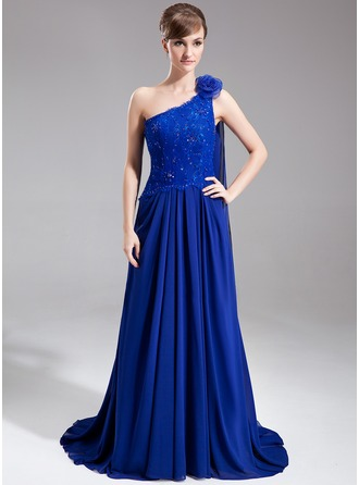 A-Line/Princess One-Shoulder Court Train Chiffon Mother of the Bride Dress With Beading Flower(s) Sequins