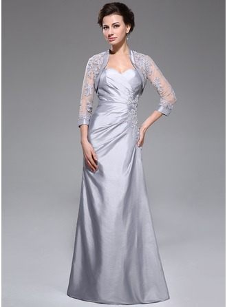 A-Line/Princess Sweetheart Floor-Length Taffeta Mother of the Bride Dress With Ruffle Lace Beading Sequins