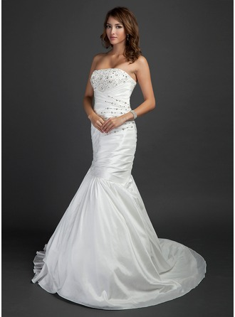 Trumpet/Mermaid Strapless Court Train Taffeta Wedding Dress With Ruffle Beading
