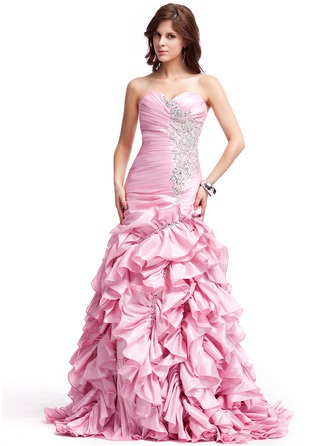 A-Line/Princess Sweetheart Sweep Train Taffeta Evening Dress With Embroidered Ruffle Beading Sequins