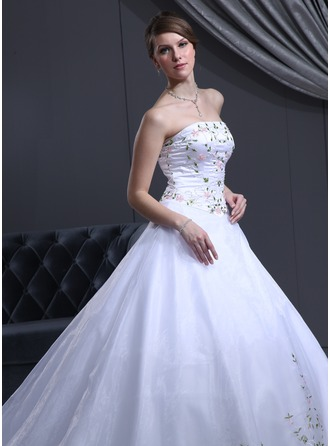 Ball-Gown Strapless Cathedral Train Organza Satin Wedding Dress With Beading