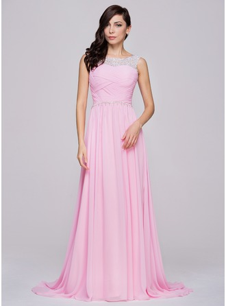 A-Line/Princess Scoop Neck Sweep Train Chiffon Tulle Prom Dress With Ruffle Beading