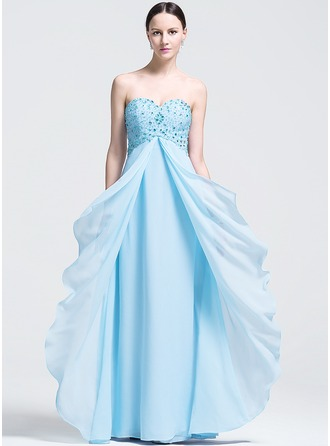 Empire Sweetheart Floor-Length Chiffon Evening Dress With Beading Sequins Cascading Ruffles