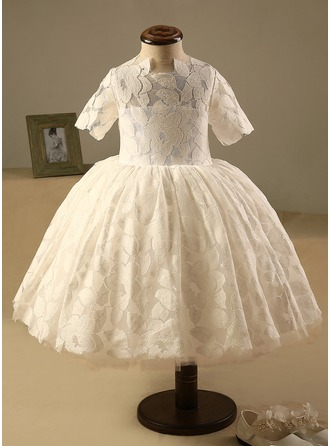 Ball Gown Knee-length Flower Girl Dress - Polyester/Cotton Short Sleeves Scoop Neck With Back Hole