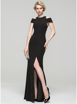 Sheath/Column Scoop Neck Floor-Length Jersey Evening Dress With Split Front