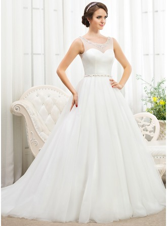 Ball-Gown Scoop Neck Court Train Tulle Wedding Dress With Beading Sequins