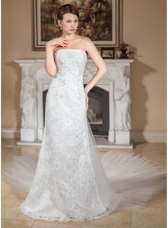A-Line/Princess Strapless Watteau Train Detachable Satin Tulle Lace Wedding Dress With Ruffle Beading
