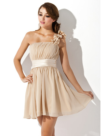 A-Line/Princess One-Shoulder Short/Mini Chiffon Charmeuse Homecoming Dress With Ruffle Flower(s) Bow(s)