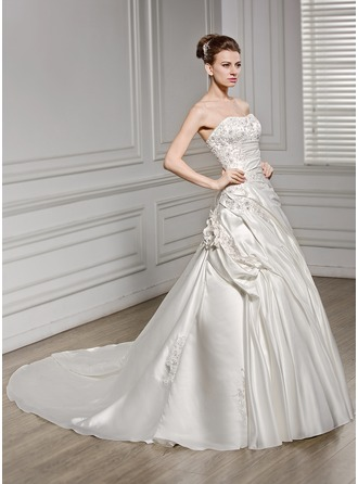 A-Line/Princess Sweetheart Cathedral Train Satin Wedding Dress With Ruffle Beading Flower(s) Sequins