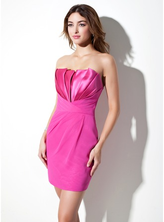 Sheath/Column Scalloped Neck Short/Mini Chiffon Satin Cocktail Dress With Ruffle