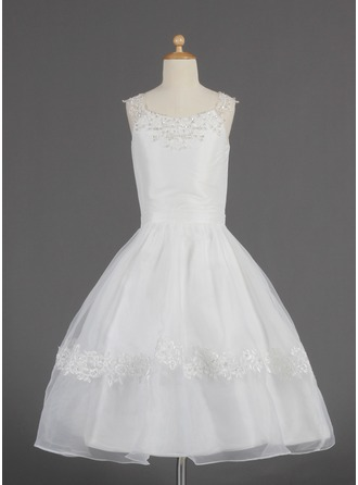 A-Line/Princess Scoop Neck Tea-Length Organza Flower Girl Dress With Lace Beading Sequins