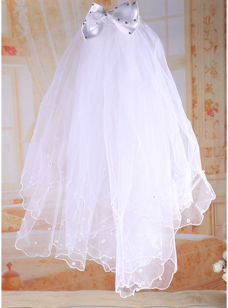 Tulle avec De faux pearl/Strass/Arc Flower Girl / Communion Voiles