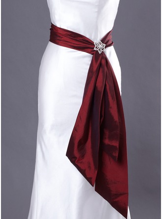 Taffeta Wedding/ Bridal With Metallic Buckle Sash