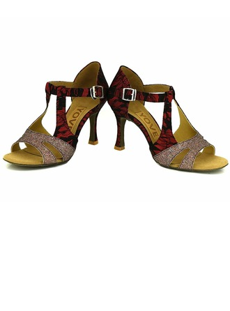 Women's Lace Heels Sandals Latin Salsa Party With Ankle Strap Hollow-out Dance Shoes