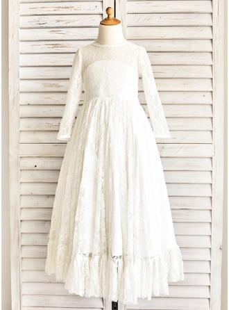 A-Line/Princess Floor-length Flower Girl Dress - Lace Long Sleeves Scoop Neck With Sash