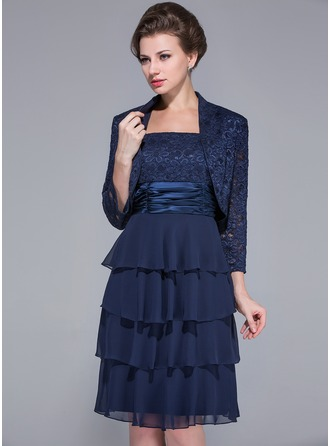 A-Line/Princess Square Neckline Knee-Length Chiffon Charmeuse Lace Mother of the Bride Dress With Ruffle