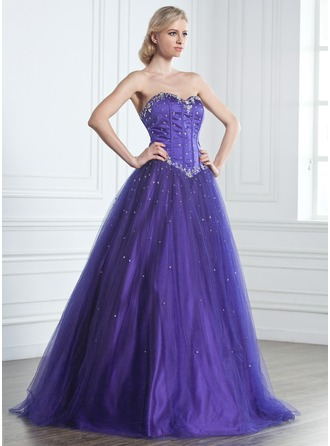 Ball-Gown Sweetheart Floor-Length Tulle Quinceanera Dress With Beading