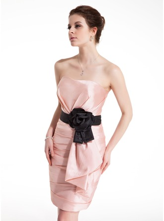 Sheath/Column Sweetheart Short/Mini Taffeta Cocktail Dress With Ruffle Sash Flower(s) Bow(s)