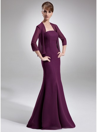 Trumpet/Mermaid Strapless Floor-Length Chiffon Mother of the Bride Dress