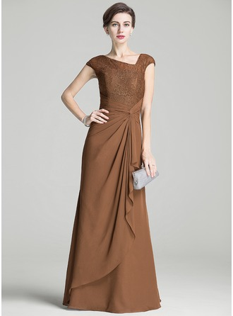 A-Line/Princess Floor-Length Chiffon Lace Mother of the Bride Dress With Ruffle Cascading Ruffles
