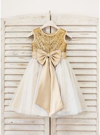 A-Line/Princess Knee-length Flower Girl Dress - Tulle/Sequined Sleeveless With Bow(s)