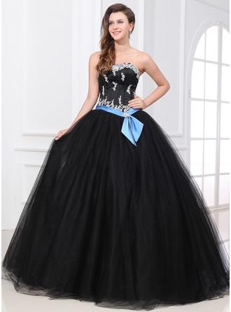 Corte de baile Escote corazón Hasta el suelo Satén Tul Vestido de quinceañera con Fajas Bordado Los appliques Encaje