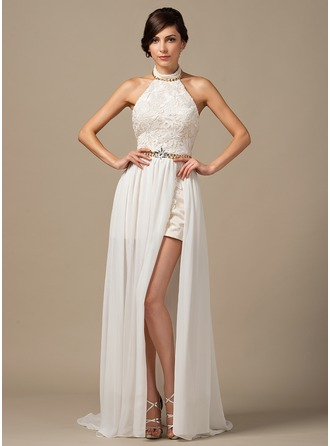 A-Line/Princess Halter Sweep Train Chiffon Lace Prom Dress With Beading