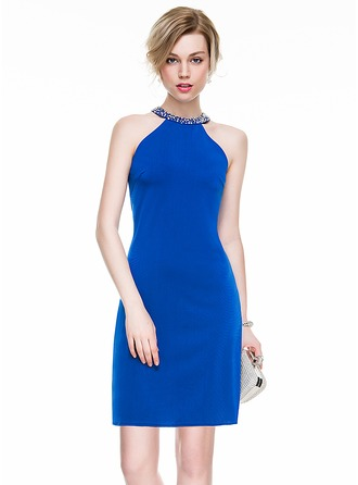 Sheath/Column Scoop Neck Short/Mini Jersey Cocktail Dress With Beading Sequins