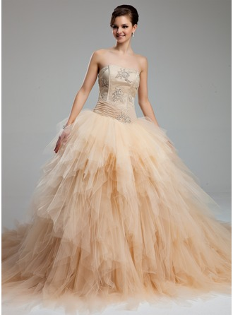 Ball-Gown Sweetheart Cathedral Train Satin Tulle Wedding Dress With Ruffle Lace Beading