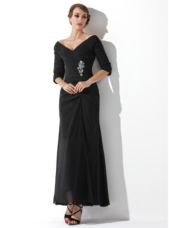 A-Line/Princess Off-the-Shoulder Ankle-Length Chiffon Mother of the Bride Dress With Ruffle Beading