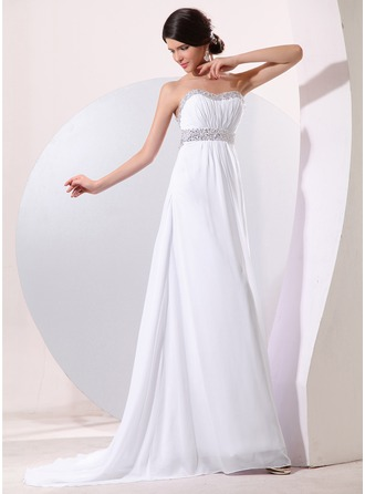 Empire Sweetheart Sweep Train Chiffon Evening Dress With Ruffle Beading Sequins