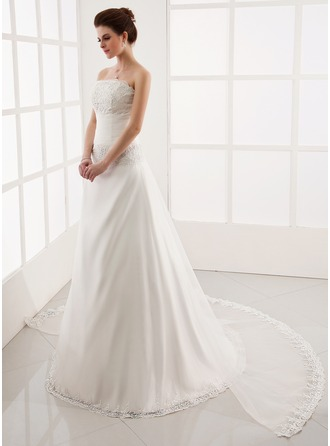 A-Line/Princess Strapless Watteau Train Detachable Organza Wedding Dress With Ruffle Lace Beading