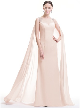 Sheath/Column Scoop Neck Floor-Length Watteau Train Chiffon Evening Dress With Beading Sequins