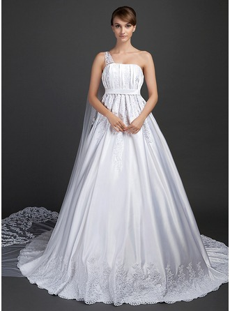 Ball-Gown One-Shoulder Watteau Train Satin Wedding Dress With Lace