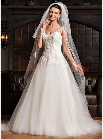 Ball-Gown Sweetheart Cathedral Train Tulle Lace Wedding Dress