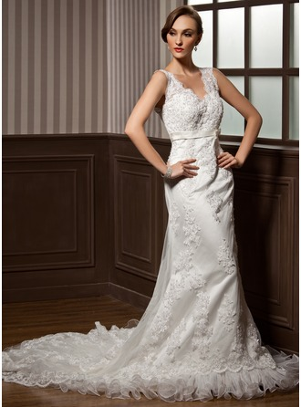 Trumpet/Mermaid V-neck Chapel Train Satin Tulle Wedding Dress With Lace Beading Bow(s) Pleated