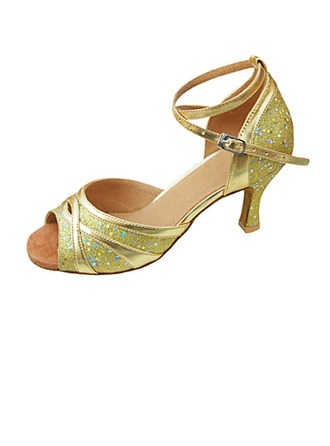 Women's Leatherette Sparkling Glitter Heels Sandals Latin Wedding Party With Ankle Strap Dance Shoes