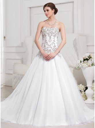 Ball-Gown Sweetheart Royal Train Satin Tulle Wedding Dress With Embroidered Beading