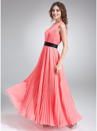 A-Line/Princess One-Shoulder Floor-Length Chiffon Charmeuse Holiday Dress With Sash Pleated