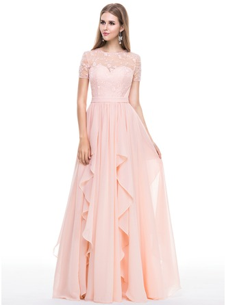 A-Line/Princess Scoop Neck Floor-Length Chiffon Lace Evening Dress With Beading Cascading Ruffles