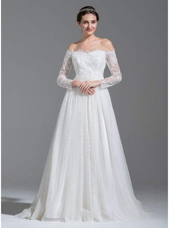 A-Line/Princess Off-the-Shoulder Sweep Train Tulle Lace Wedding Dress With Beading Sequins