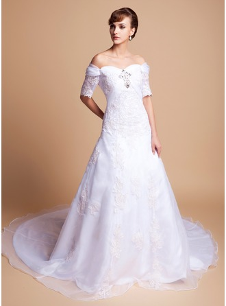 A-Line/Princess Off-the-Shoulder Cathedral Train Satin Organza Wedding Dress With Beading Appliques Lace