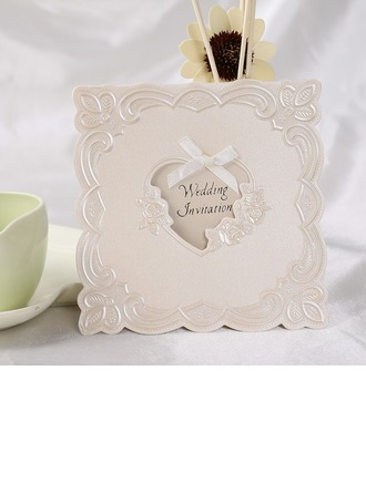 Heart Style Top Fold Invitation Cards With Ribbons